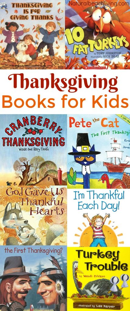 23 of The Best Thanksgiving Books for Kids, You'll find pilgrim books, Turkey books, Books on the Mayflower, Fall books for preschoolers, Thankful books and more #Thanksgiving #booksforkids