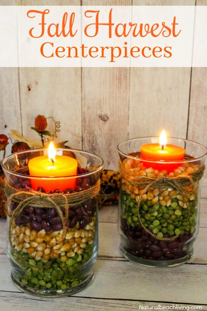 Easy Fall Table Centerpieces look great for a fall decoration or beautiful Harvest Centerpiece for Thanksgiving dinner. Make a DIY Centerpiece in minutes, Fall Table Centerpiece Ideas, Fall Candle Centerpiece Ideas, #Falldecor #DIYfallcraft #fallcraft #thanksgivingcraft #thanksgivingcenterpiece #falldecortips