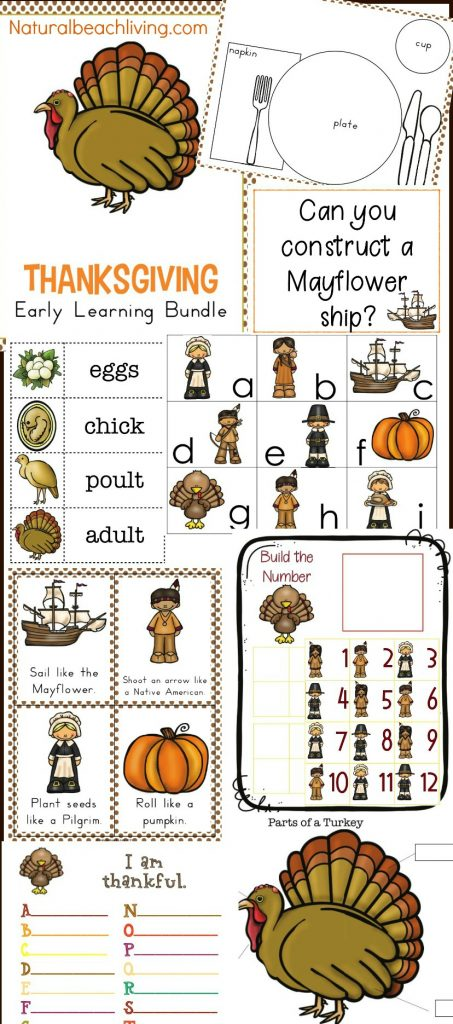 Thanksgiving Kindergarten and Preschool Theme, Thanksgiving activities, preschool theme filled with the life cycle of a turkey science, Mayflower STEM, Thanksgiving crafts, Movement cards, Thanksgiving writing center, alphabet, Montessori activities and more #Thanksgiving #stem #preschool #kindergarten
