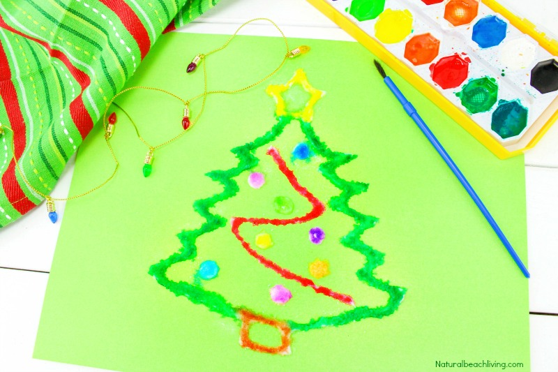 How to Make The Best Christmas Salt Painting, Watercolor Salt Painting, Christmas Preschool Craft, Fun Winter craft kids love, Raised salt painting, process art, Christmas tree crafts for kids #Christmascrafts #Christmas #Christmasactivities #wintercrafts #saltpainting #preschoolers