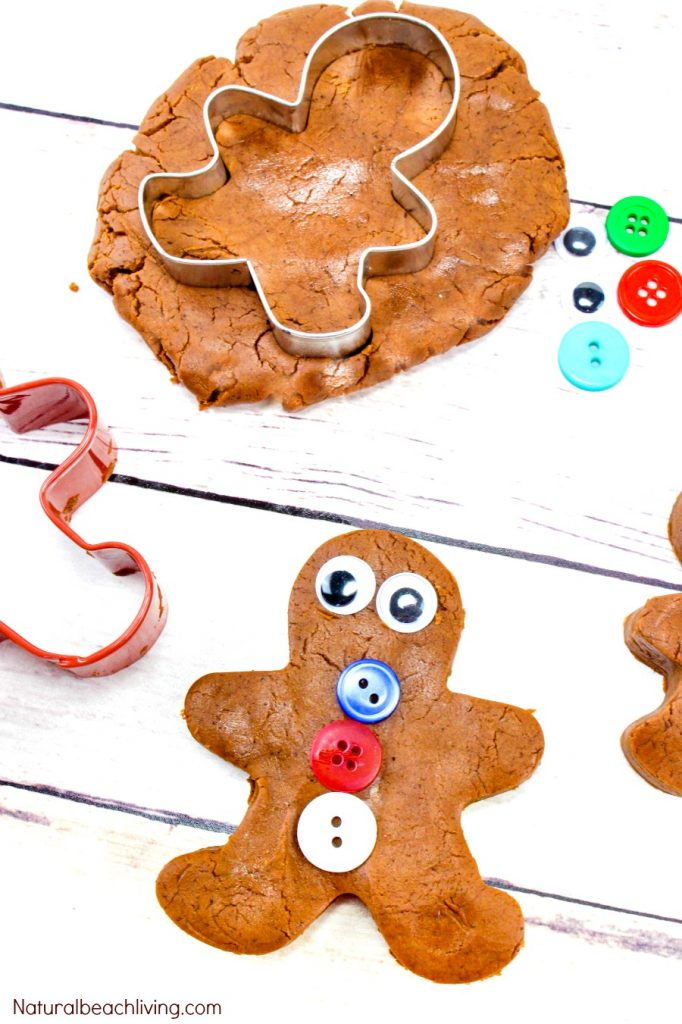 The Best Gingerbread Playdough Recipe, No-Cook Playdough, Gingerbread Playdough No Cream of Tartar, Homemade Playdough without cream of tartar, Scented Playdough, Edible Playdough recipe, Gingerbread Man Playdough, Winter Sensory Play #playdough #homemadeplaydough #gingerbread #gingerbreadplaydough #Christmas #gingerbreadmen