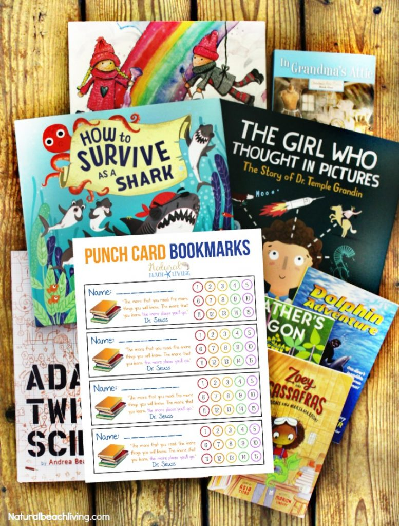 These Free Printable Bookmarks for kids are perfect for all ages. Free Bookmarks are great for teachers and parents, Punch card bookmarks are a great way to encourage children to read. #read #reading #books