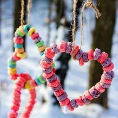 Easy Kid Made Bird Feeder Ornaments – Heart Bird Feeder Crafts