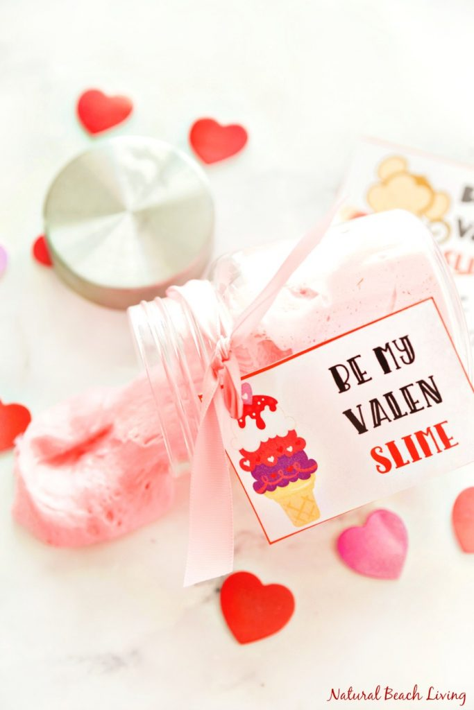 valentines day fluffy slime with free valentines printables - Best Valentines