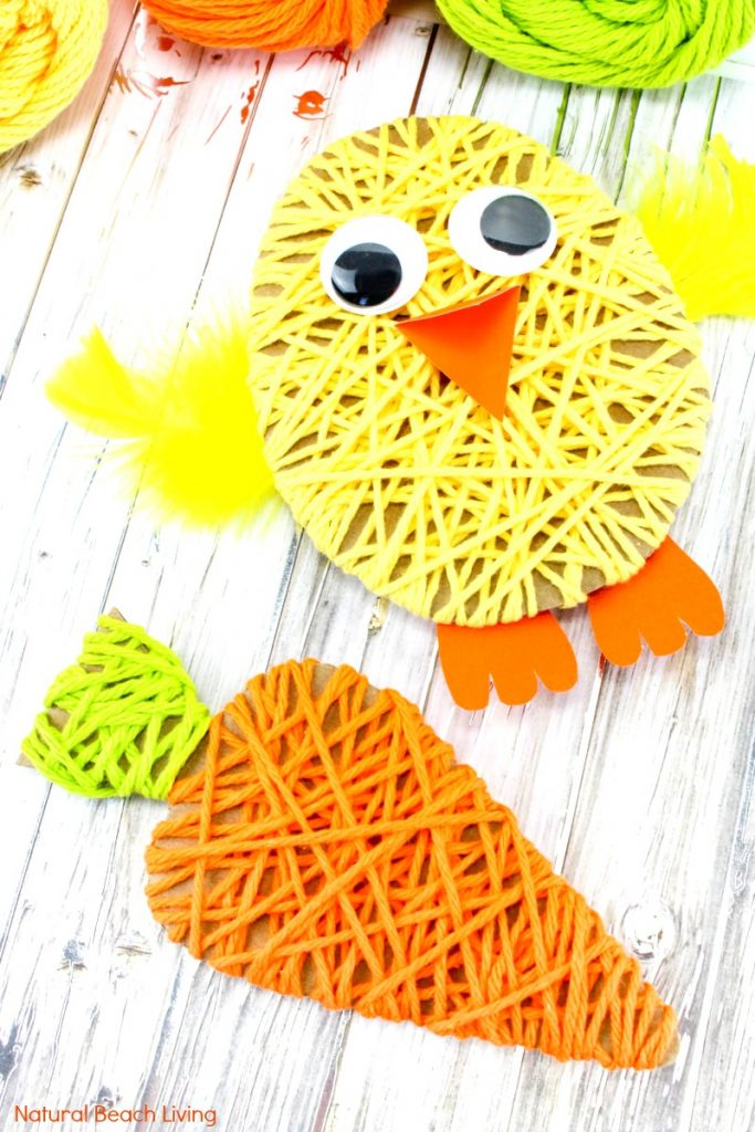 Easy Easter Crafts for Kids, Easy Easter Crafts for Preschoolers, Easter Craft activities, Easter Crafts for Preschoolers, Fun Easter yarn art is perfect for any age! Just a few items needed to create this cute Easter craft Kids Love to Make, Fine Motor Activities, Spring Yarn Craft for Kids, #easter #easterbunny #eastereggs #eastercrafts
