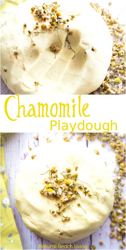 Natural Chamomile Playdough Recipe, Perfect No Cook Calming Play dough, How to Make Homemade play dough, The BEST Playdough Recipe, easy to make playdough, scented playdough, No Cook playdough recipe, Natural Playdough, Easy Playdough, Therapy dough recipe, Best Play dough recipes ever, Calming play dough, Chamomile play dough,