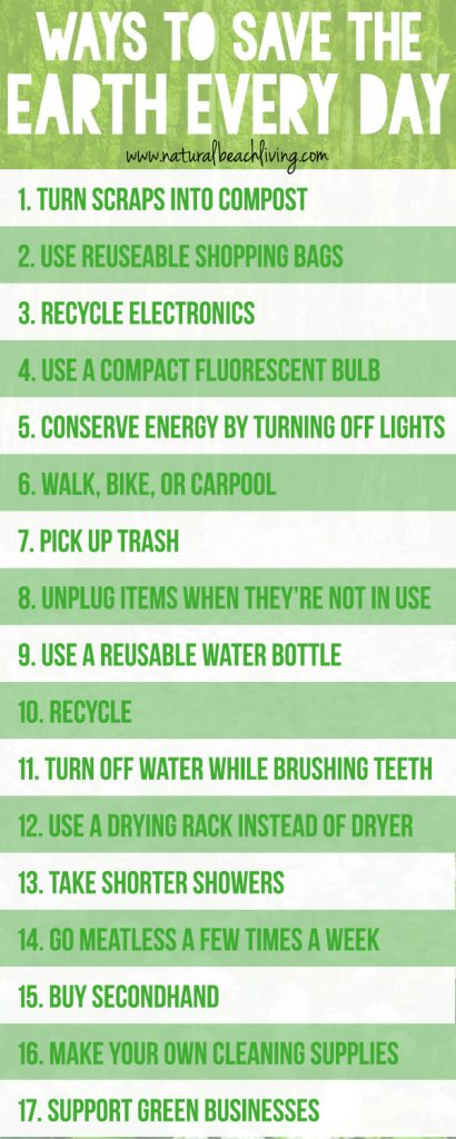 20+ Easy Ways to Save the Earth Every Day, Going green can be easy with a few simple changes. There are little things you can do every day to help reduce gases, help with pollution and make a less harmful impact on the environment. Taking care of the Earth can be easy to do if you start by making a few simple changes.Earth Day! Going Green! Eco-Friendly! Natural Living!