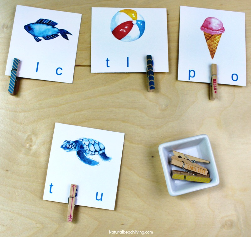 Free Beginning Sound Clip Cards - Summer Alphabet Printables, Children will love identifying beginning sounds with these super cute summer-themed clip cards! Summer Theme Alphabet Cards are a great letter sounds activity for Preschool and Kindergarten, letter sound clip cards
