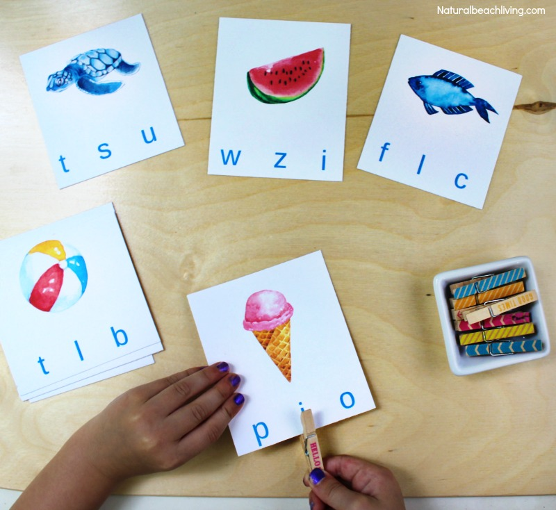 Free Beginning Sound Clip Cards - Summer Alphabet Printables, Children will love identifying beginning sounds with these super cute summer-themed clip cards! Summer Theme Alphabet Cards are a great letter sounds activity for Preschool and Kindergarten, letter sound clip cards, free printable letter sound cards, beginning sounds alphabet clip cards