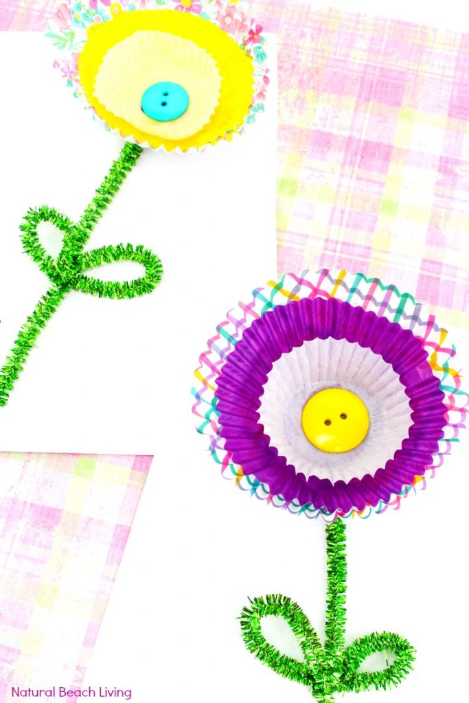 Cupcake liner flower craft spring flower craft for kids natural cupcake liner flower craft spring flower craft your kids will love making this flower mightylinksfo Choice Image