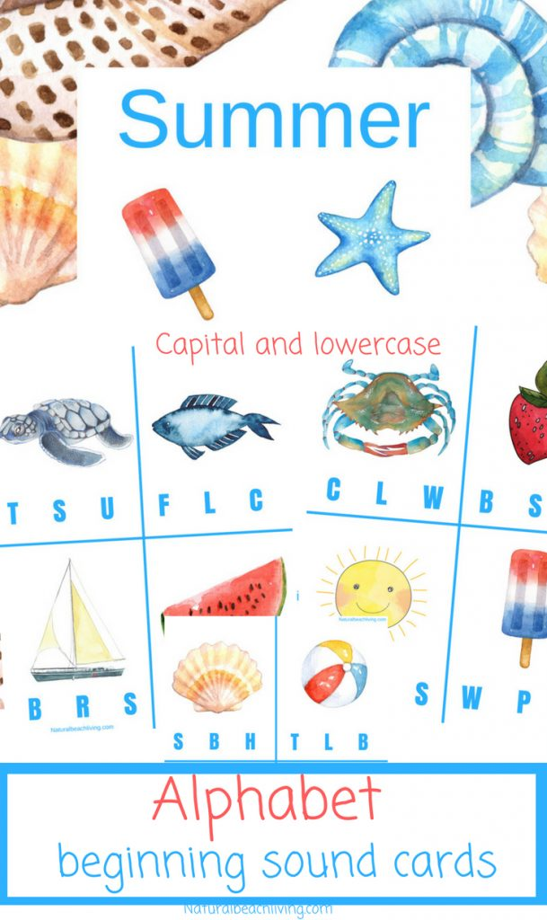 Free Beginning Sound Clip Cards - Summer Alphabet Printables, Children will love identifying beginning sounds with these super cute summer-themed clip cards! Summer Theme Alphabet Cards are a great letter sounds activity for Preschool and Kindergarten, letter sound clip cards, beginning sounds alphabet clip cards
