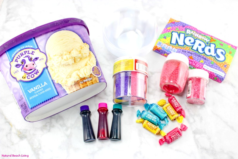 How to Make Unicorn Ice Cream, DIY Unicorn Ice Cream that is easy to make and you only need a few ingredients. Perfect Treat for a Unicorn theme party or Rainbow theme party idea, unicorn ice cream sundae, unicorn ice cream no churn, Tasty Ice Cream Sundae that kids and adults love