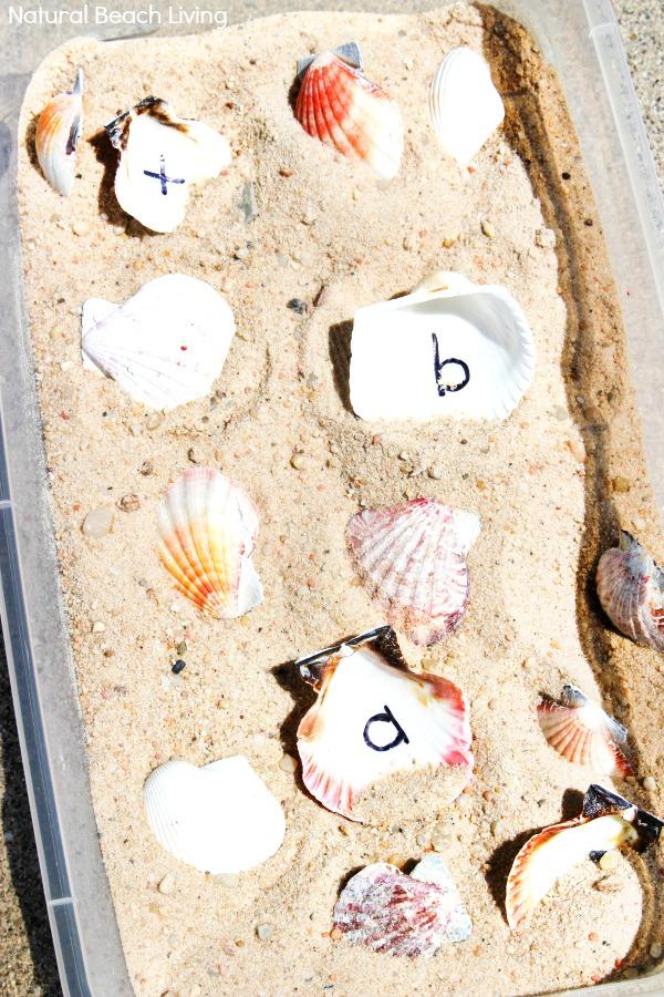Letter Matching Seashell Sensory Bin for Preschoolers and Kindergarten, an easy to set up ocean theme sensory bin, sensory alphabet activities, sensory activities for letter recognition, alphabet sensory bin, Ocean Theme Preschool and Seashell Activities for Kids
