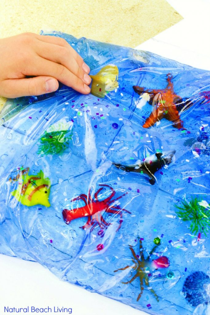 Easy Ocean Life Sensory Bag for toddlers and preschoolers, Mess-Free ocean themed sensory activities, Fun Hands On Activities for an Ocean Theme, ocean sensory bag is perfect for Ocean Science Table Ideas, Under the Sea Activities