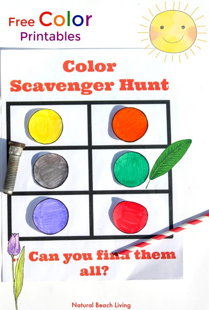 Color Scavenger Hunt for toddlers and preschoolers, Color Scavenger Hunt Printablemake Fun Educational Color Activities perfect for indoor and outdoor color activities for Kids, Easy Color Learning idea and the kids love matching colors, Take it outside for a Nature Color Scavenger Hunt,