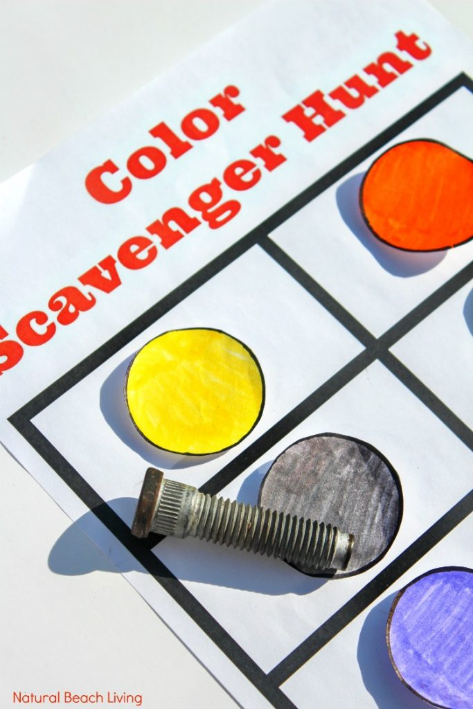 Color Scavenger Hunt for toddlers and preschoolers, This Color Scavenger Hunt Printableis perfect for indoor and outdoor color activities for Kids, Easy to do activity and the kids love matching colors, Take it outside for a Nature Color Scavenger Hunt
