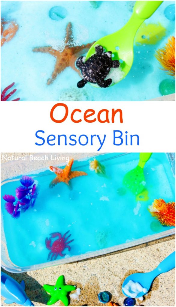 This Ocean Sensory Bin is easy to put together with a few simple under the sea theme items your children will spend hours playing with it. If you are doing an Ocean Theme for Preschoolers, sensory play and Under The Sea activities are perfect for hands on learning, Under the sea sensory bins are great for an Ocean Unit Study too.