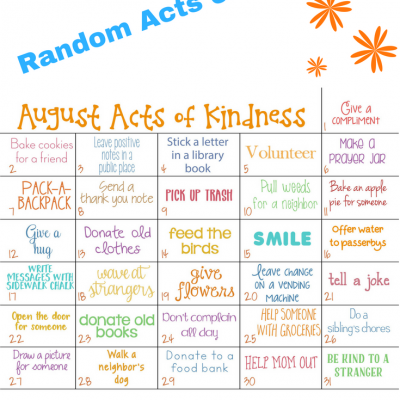 Kindness Calendar for August – Acts of Kindness for Kids