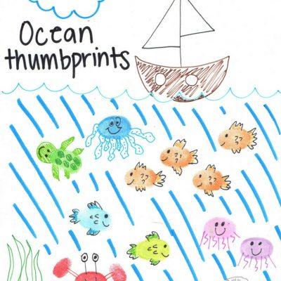 Thumbprint Ocean Animals with Ocean Theme Printables