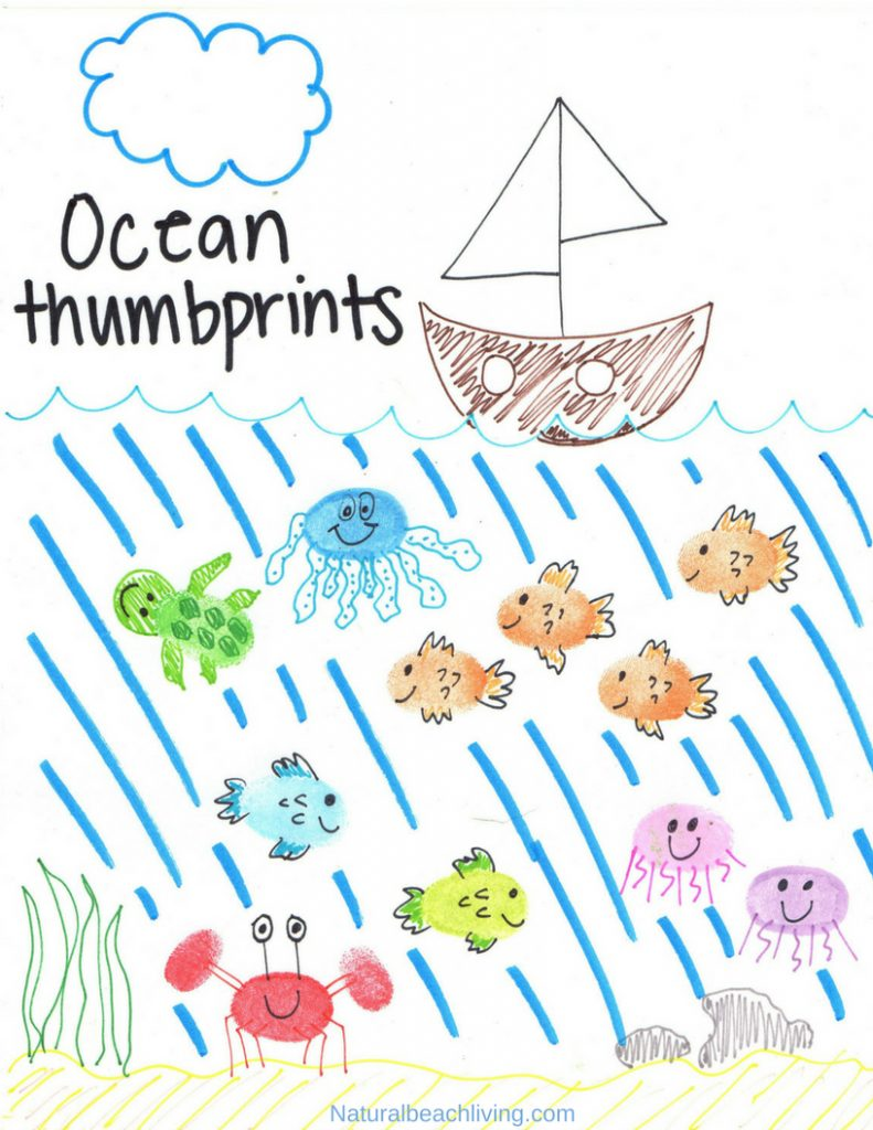 Thumbprint Ocean Animals, make Fingerprint Art Animals with your kids with a free printable tutorial to make it easy for you.  Easy to follow step by step directions. Add these Ocean Animal crafts to any ocean theme, These thumbprint animal pictures are adorable. fingerprint animals pictures, how to make fingerprint animals