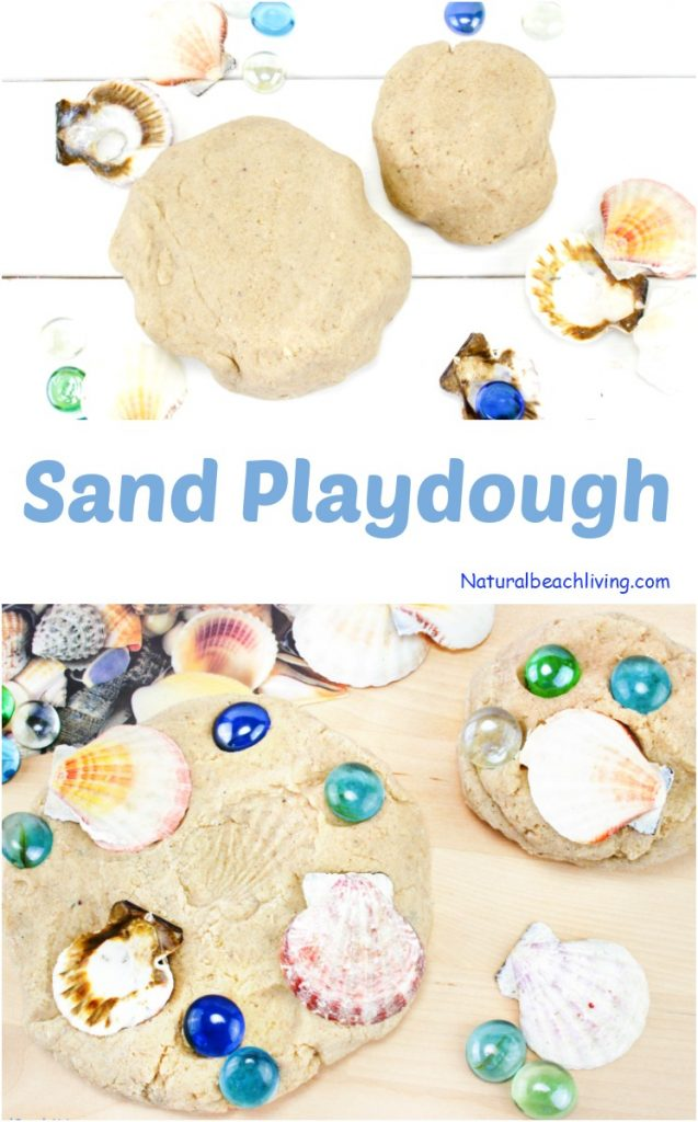 Kids love making imprints of the seashells on this sand playdough. Make DIY Sand Play dough for a perfect Beach Theme Playdough recipe, this Textured Playdough is fun sensory play and summer activity