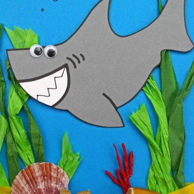 Shark Craft for Preschool and Kindergarten with Free Shark Template