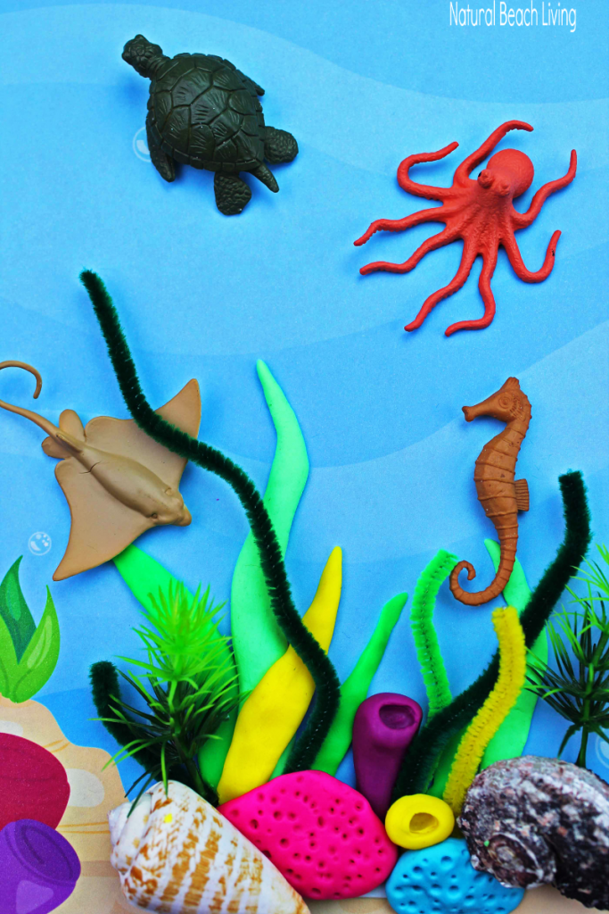 Coral Reef Activities for Preschoolers and Kindergarten with free Ocean Theme Printables, Coral Reef Craft Ideas and Ocean Theme Activities for Kids, Plus a Hands on learning Ocean Playdough Activity