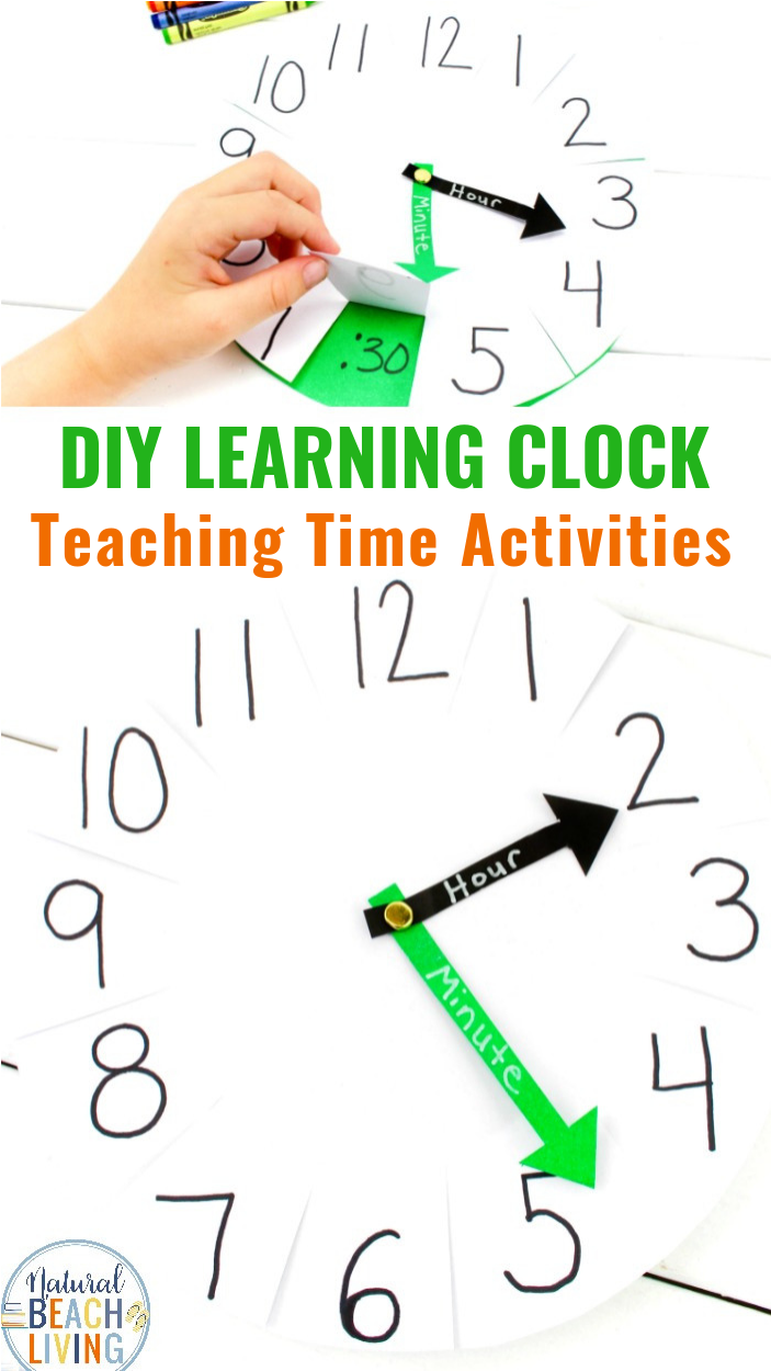 How to Teach Telling Time DIY Paper Clock Activity, Use this learning clock to help teach your kids to tell time. It perfect for easy hands on Teaching Time Activities, Telling Time Activities and Fun Ways to Teach Time