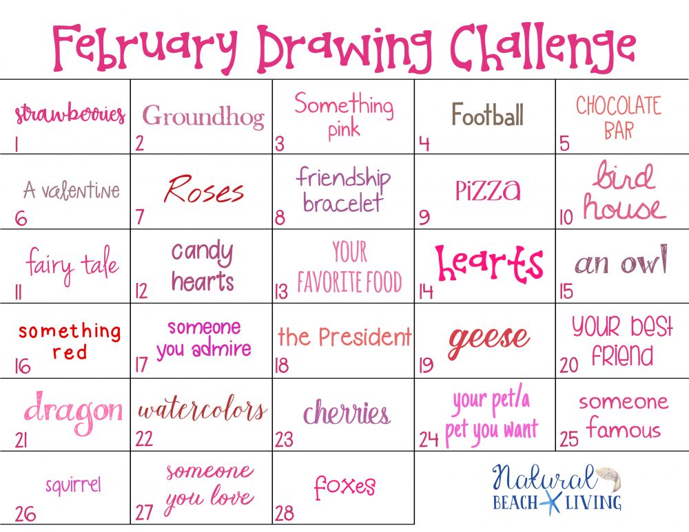 february drawing challenge for kids and adults