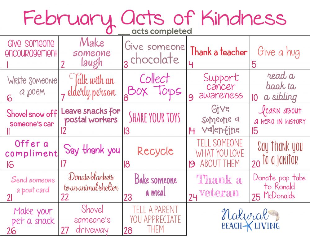 12  random acts of kindness calendar for the whole year